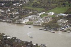 United Kingdom, London, Greenwich, Aerial view of Old Royal Naval College - stock photo