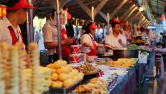 Wangfujing Snack street adjacent to the Wangfujing street, Beijing - stock footage