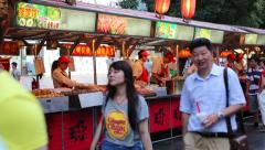 Wangfujing Snack street adjacent to the Wangfujing street, Beijing Stock Footage