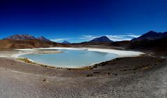 Bolivia, Southern Highlands, Red Lagoon, Scenics view of salty lagoon in - stock photo