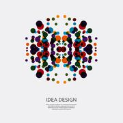 Vector colorful pattern of dots. Circular ornament for design Stock Illustration