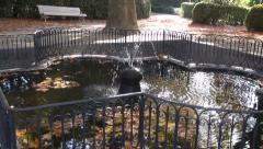 Water splash in beautiful autumn historical fountain in park Stock Footage