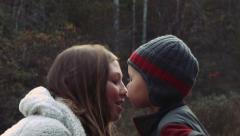 Mother and Son Nose to Nose Stock Footage