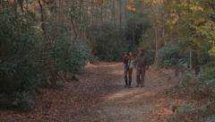 Family Hiking In Woods Stock Footage