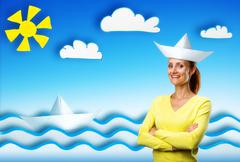 Happy smiling young woman on cartoon background Stock Photos