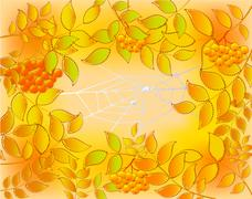 Background of autumn leaves, rowan and web with dew drops. EPS10 vector Stock Illustration