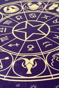 Close up of mystic zodiac circle Stock Photos