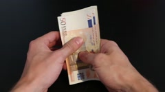 Stock Video Footage of hands counting euro money
