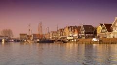 Harbor at sunset. Volendam, The Netherlands Stock Footage