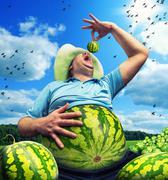 Bizarre farmer - stock photo