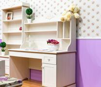 Beautiful wooden cupboard in children's room Stock Photos