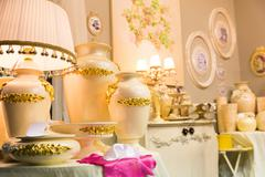 Table luxury lamp, yellow colors - stock photo