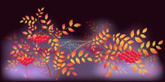 Autumn Landscape with spider webs and dew drops. EPS10 vector illustration Stock Illustration