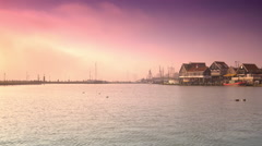 Harbour at sunset. Volendam, The Netherlands Stock Footage