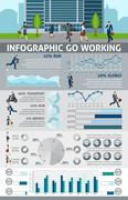 Infographic Go Working People - stock illustration
