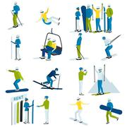 Ski Resort People  Icons Set Stock Illustration