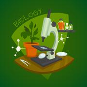 Biology Laboratory Workspace Design Concept Stock Illustration