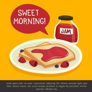 Breakfast Design Concept With Sweet Morning Remark - stock illustration
