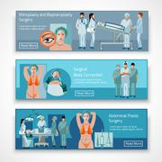 Plastic surgery concept 4 flat icons square Stock Illustration