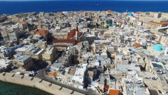 Aerial footage of the Port and old city of Acre, Israel. - stock footage