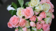 Beautiful wedding bouquet of fresh flowers   shot in slow motion  close up Stock Footage