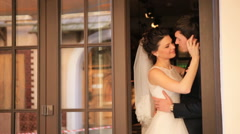 Wedding Day Young Bride And Groom Looking At Each Other With Love shot in slow Stock Footage