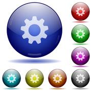 Settings glass sphere buttons Stock Illustration