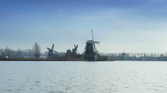Dutch mills in Holland Stock Footage