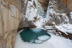 Canada, Banff, Johnston Canyon in winter - stock photo