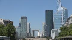 France Paris La Defense Landscape Urban Scene Skyscrapers Banking Corporations - stock footage