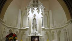 Virgin Mary Memorial In Church Stock Footage