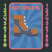 Leather boot flat design icon. Vector hot sale label. - stock illustration