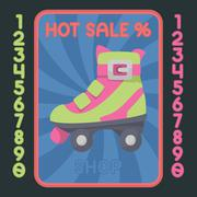 Rollerskate boot flat design icon. Vector hot sale label. - stock illustration