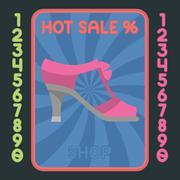 High heel shoe flat design icon. Vector hot sale label. - stock illustration