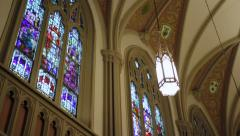 Stained Glass Windows Inside Cathedral Stock Footage