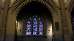 Church Stained Glass Window Arch - stock footage