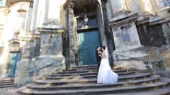 beautiful young couple bride and groom standing shot in slow motion  close up - stock footage