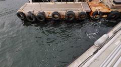 ICELAND Videy Boat Boot anchor ankern landing anlegen - stock footage