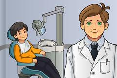 Kid in the Dentist Office - stock illustration