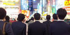 Businessmen in Shinjuku, Tokyo, Japan. Stock Photos