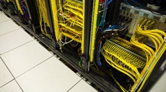 Back Side Of Modern Working Data Servers With Cables And Flashing LED Lights Stock Footage