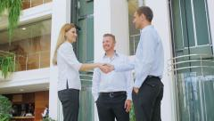 Meeting of business partners in the office centre. Stock Footage
