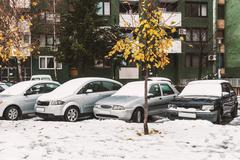 A few cars covered with snow in the parking lot at witner season - stock photo