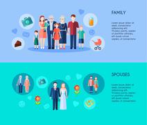 Stock Illustration of Family And Spouses Banners