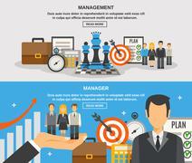 Management Banner Set Stock Illustration