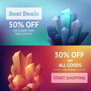 Crystal Mineral Banners - stock illustration