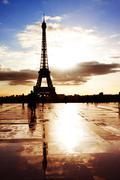 France, Paris, Silhouette of Eiffel Tower - stock photo