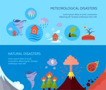 Natural disaster 2 flat banners composition - stock illustration