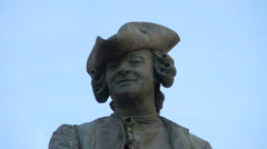 Close up view of Carlo Goldoni statue in Venice Stock Footage