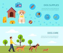 Stock Illustration of Dog 2 flat horizontal banners composition